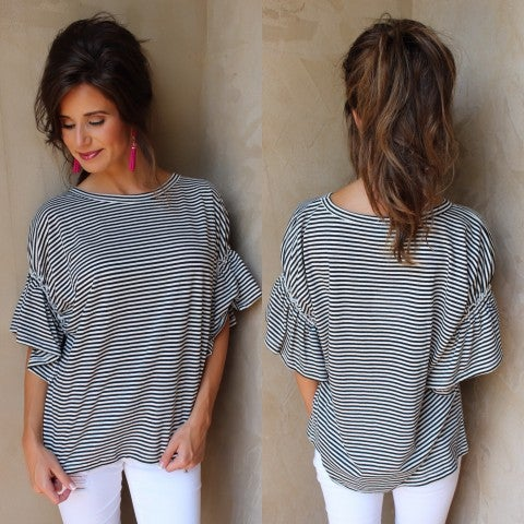 Not Your Basic Black Striped Top