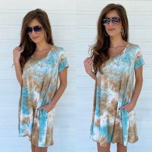 On My Time Tie Dye Dress- Jade
