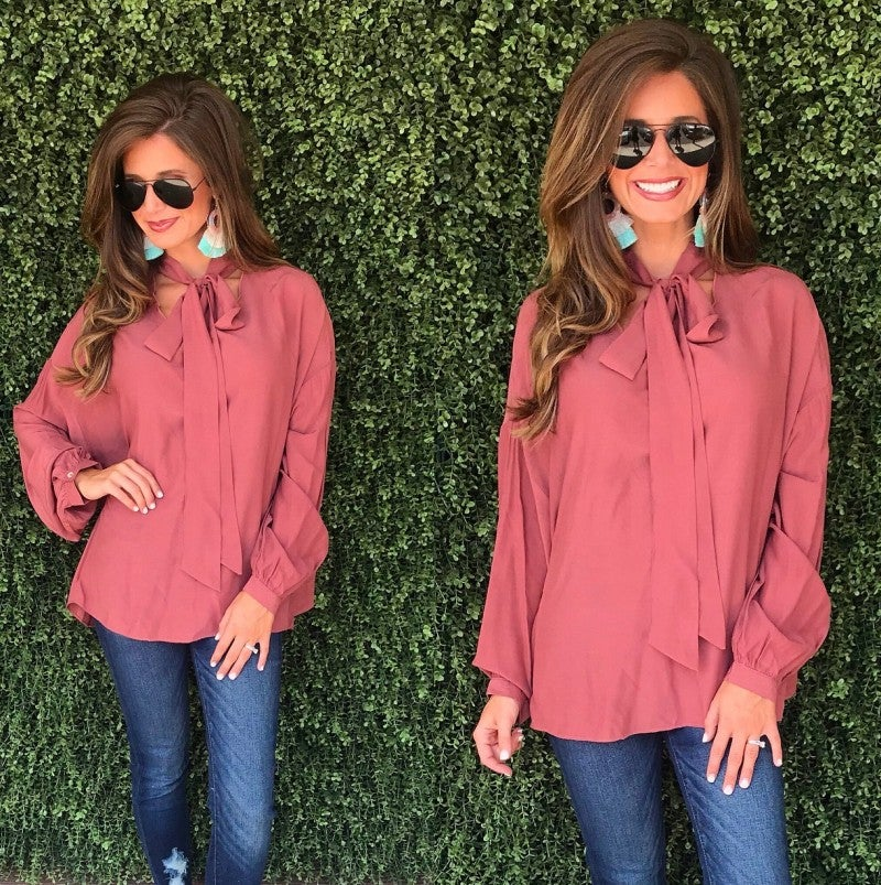 Red Clay Tie Neck Top