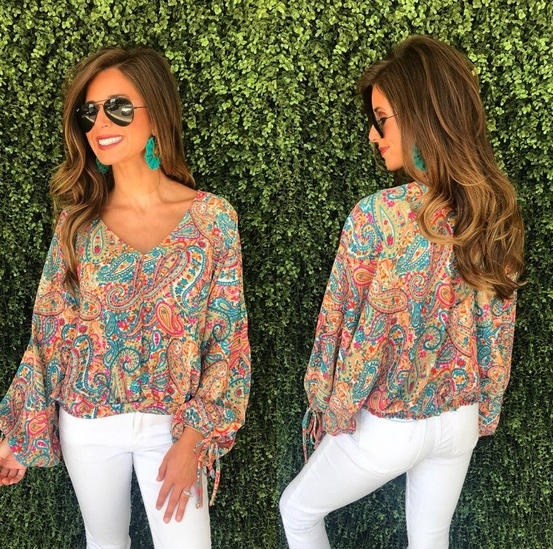 Paisley Party Top- Jade