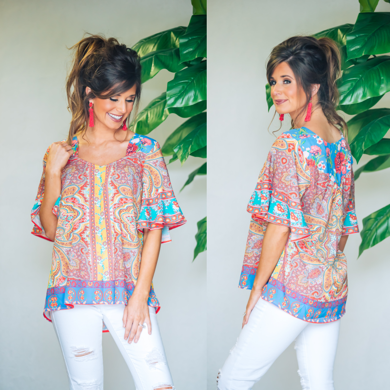 Mango & Sky Mix Print Top