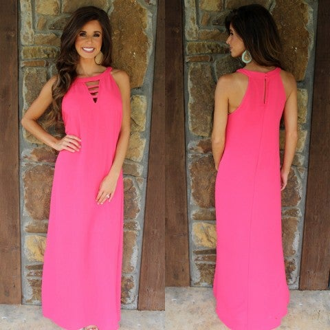 Siesta Strawberry Maxi with Lattice Front