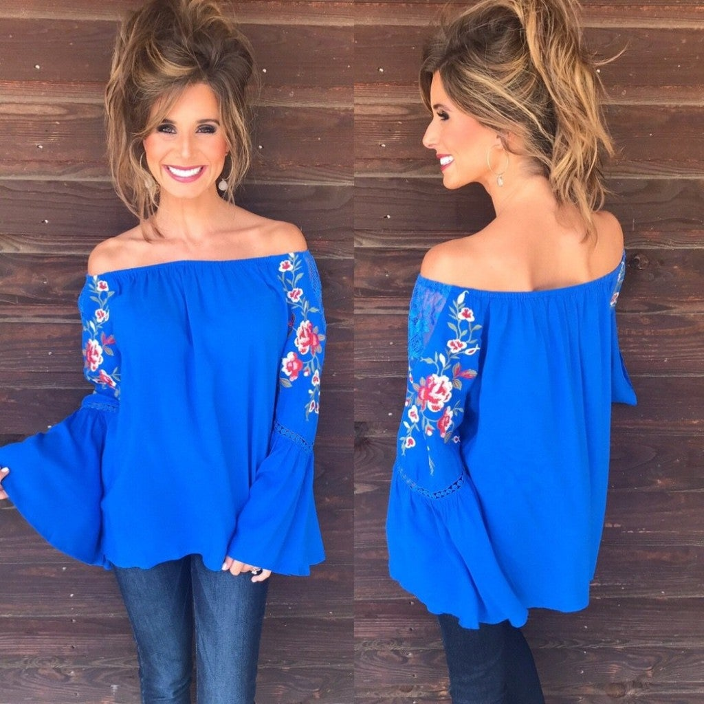Cobalt Blue Off Shoulder Top with Embroidery