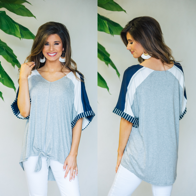 Heather Grey and Navy Mix Top