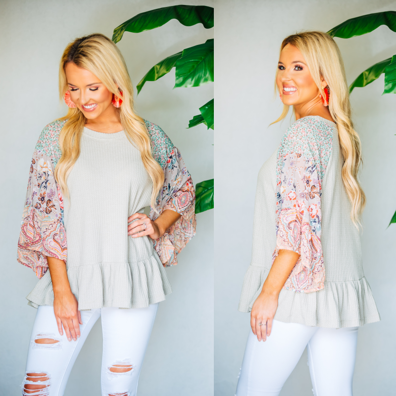 Sage Waffle Top With Abstract Sleeves