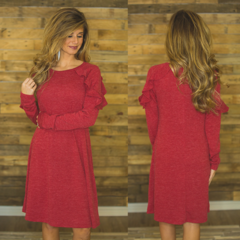 Red Sweater Dress with Ruffle Detail