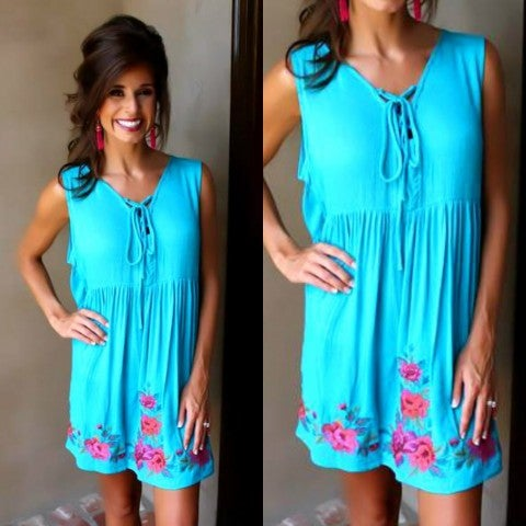 Turquoise Waters Embroidered Dress/FINAL SALE