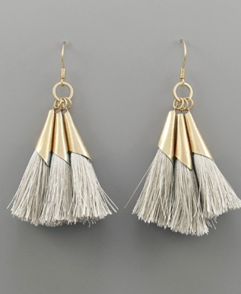 Dainty Ivory & Gold Tassel Earrings