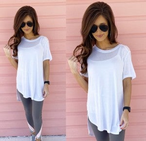 Lucy Short Sleeve Top- White