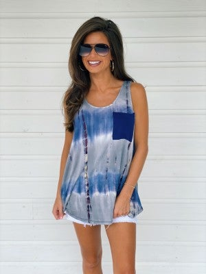 Tori Tie Dye Top- Blue