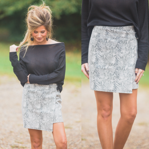 Faux Suede Snake Skin Skirt