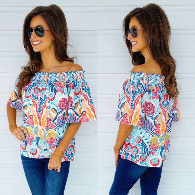 Fantastic Florals Off Shoulder Top