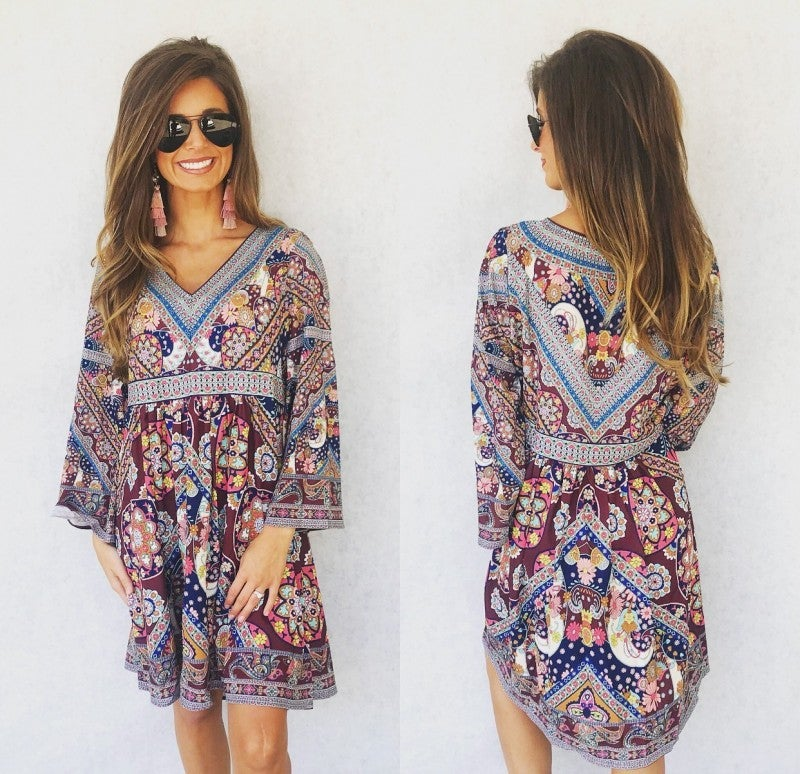 All the Feels Floral V-neck Dress