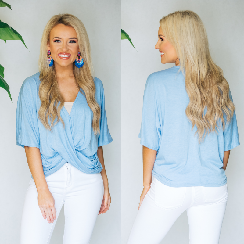 Ice Blue Wrap Top