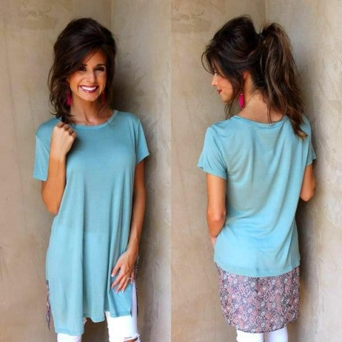 Seafoam Printed Back Top