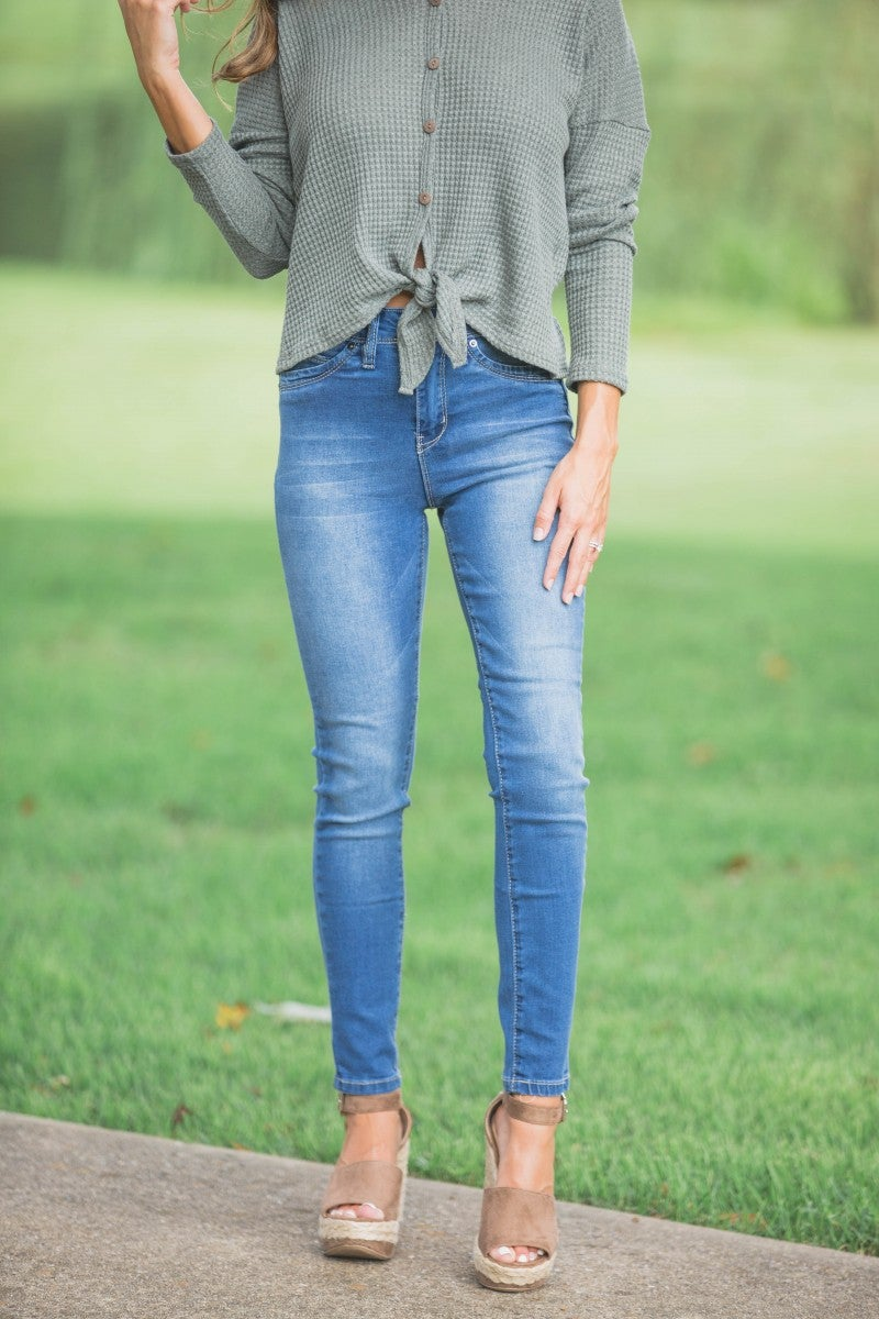 High Rise Light Denim Skinnies