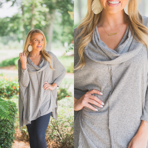 Oatmeal Cowl Neck High Low Sweater
