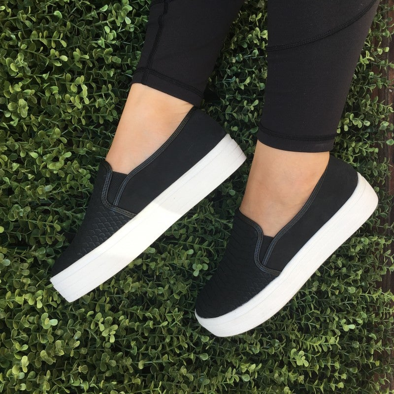 Snake Slip On Sneakers- Black