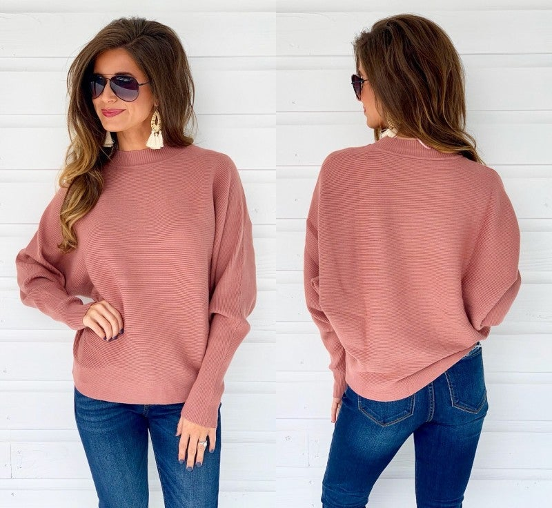 You Got It Ribbed Sweater- Mauve
