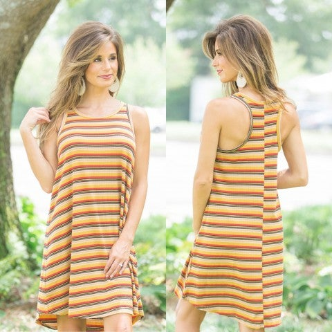 Camel Red Striped Dress/DEAL OF THE DAY/Final Sale
