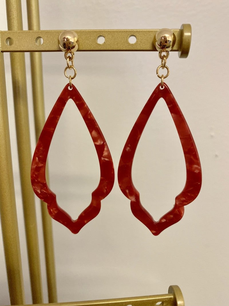 Rust Red Acrylic Earrings