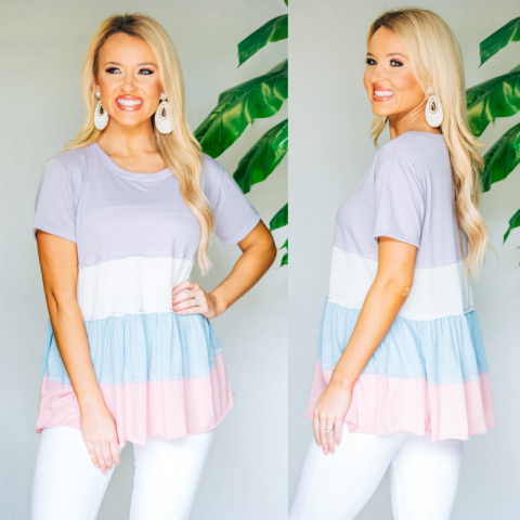 Lavender Combo Ruffle Top