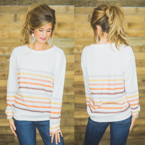 Ivory Fall Striped Sweater