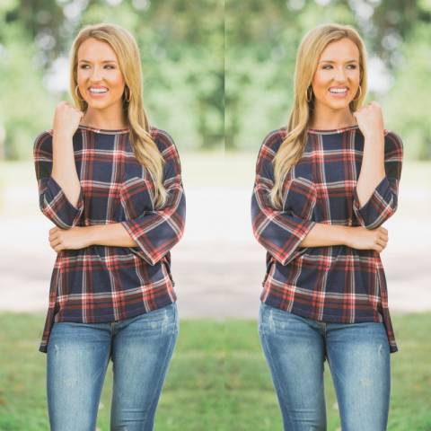 Navy and Orange Plaid Pocket Top