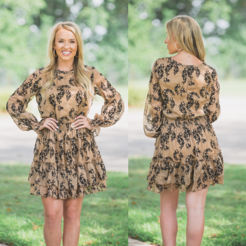 Tan Dress with Textured Black Print