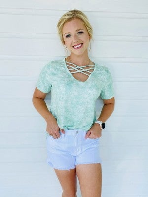 Out And About Criss Cross Top- Mint