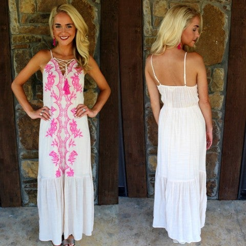 Naturally Pretty Pink Embroidered Maxi