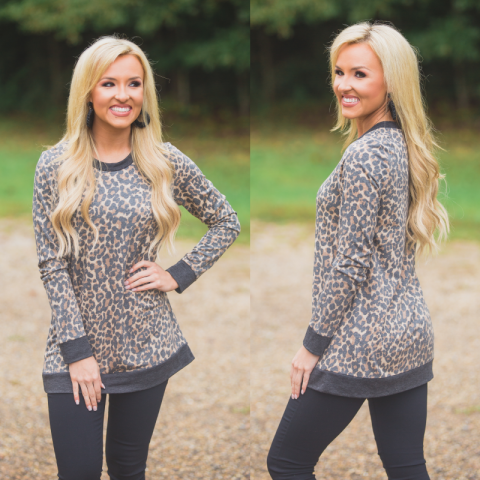 Leopard Print French Terry Top