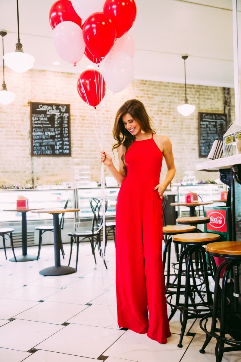 Lady In Red Jumpsuit