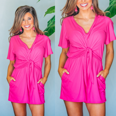 Oh So Sweet Everyday Romper- Fuchsia