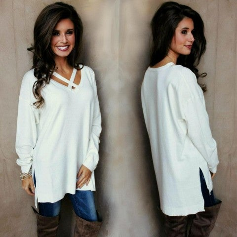 Ivory Criss Cross Lightweight Sweater