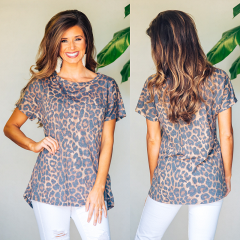 Spotted Animal Print Pocket Top