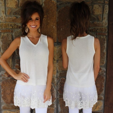 White Lace Bottom Sleeveless Top/FINAL SALE