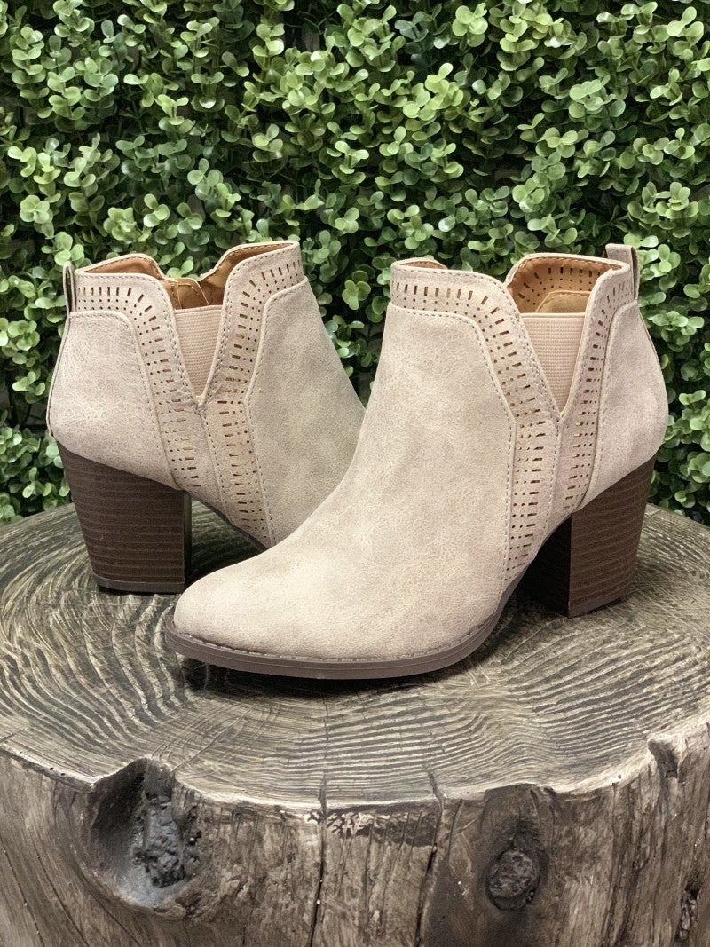 Stone Booties With Cut Out Detail