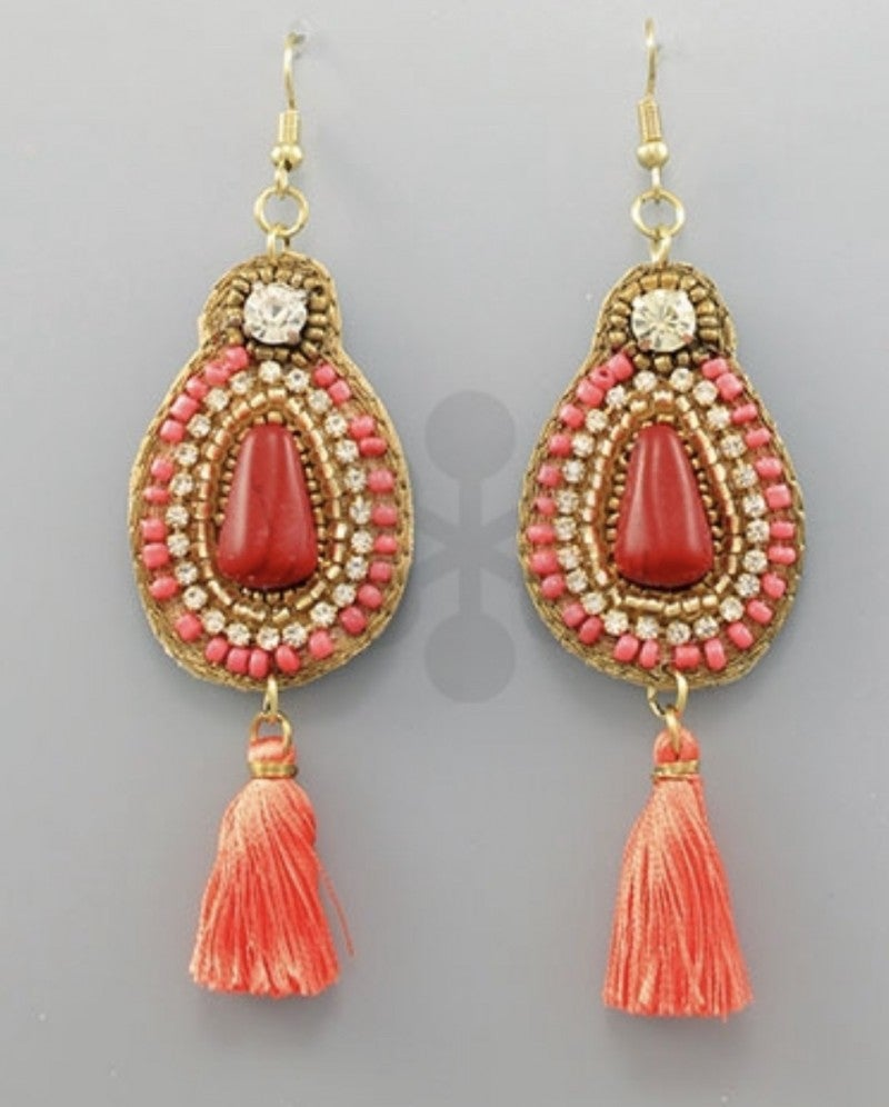 Julie Earrings- Coral