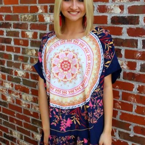 Navy Medallion Top