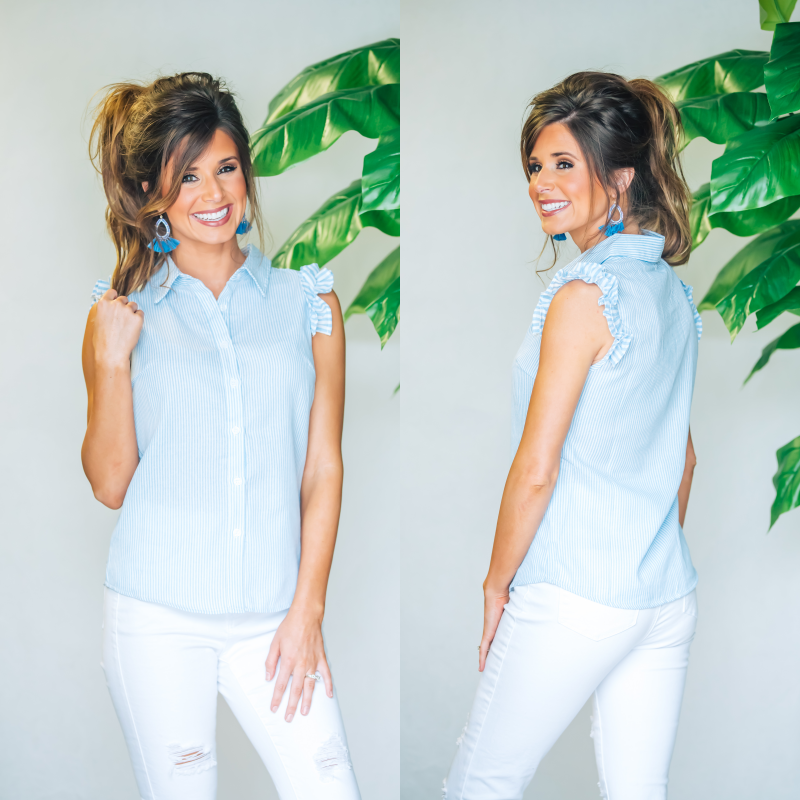 Picnic Perfection Top- Light Blue