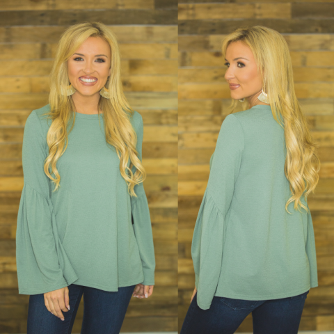 Moss Top with Pleated Sleeves