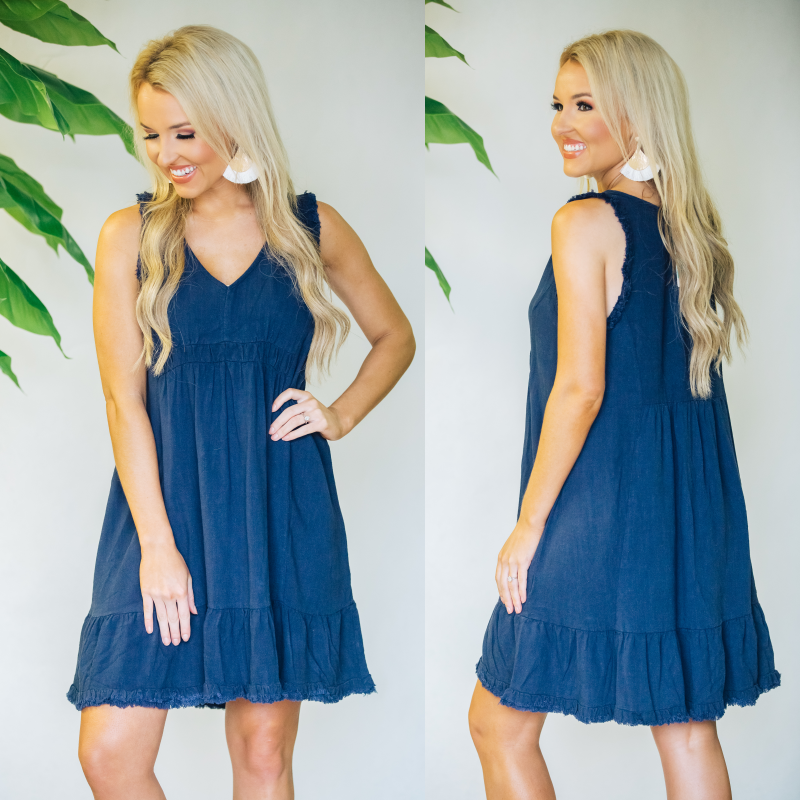 Never Forget Navy Frayed Hem Dress