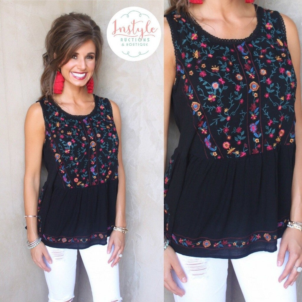 Garden Glow Floral Embroidered Top - Black