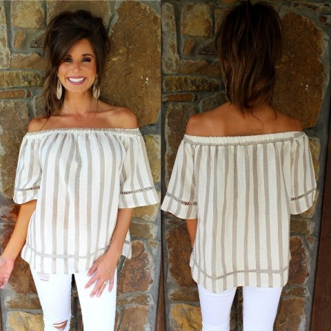 Taupe Striped Off Shoulder Top/FINAL SALE