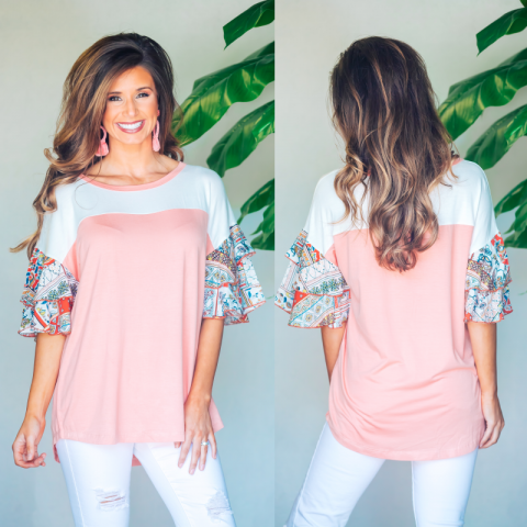 Peach Top With Printed Sleeves