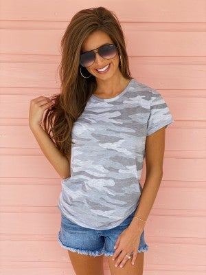 Light Grey Camo Top