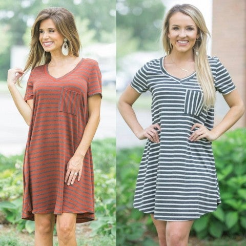 Striped Pocket Dress/DEAL OF THE DAY/ Final sale