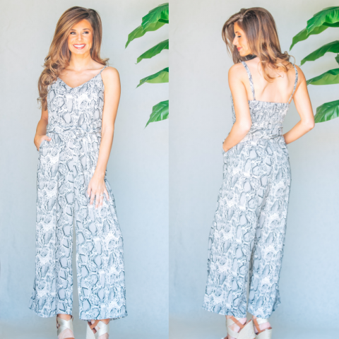 Grey Snake Pattern Jumpsuit