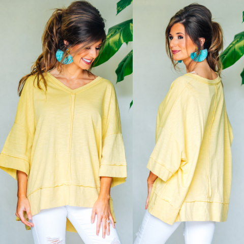 Yellow Knit V-Neck Top